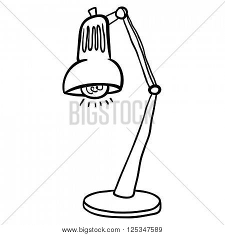 black and white lamp cartoon