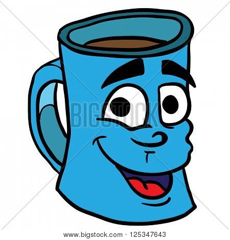 smiling coffee cup cartoon