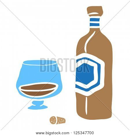 bottle and glass cartoon