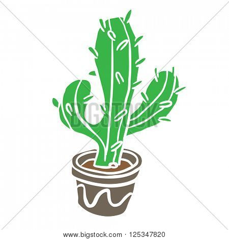 cactus in a pot cartoon