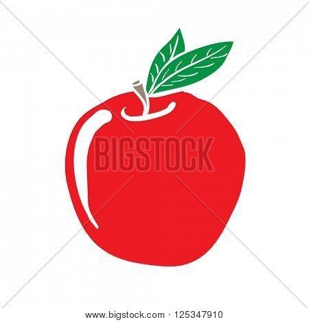 freehand drawn cartoon apple illustration