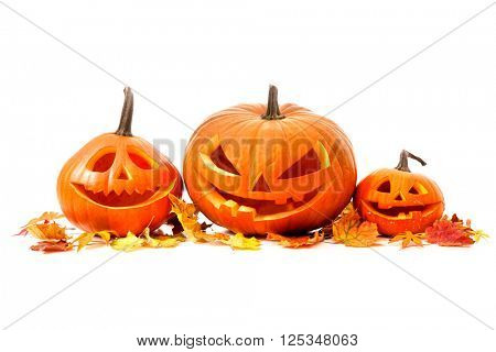 Halloween pumpkin head jack lantern isolated on white background