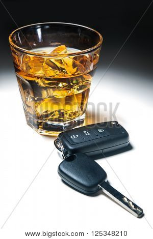 Whiskey with car keys concept for drinking and driving