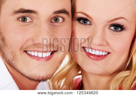 Closeup portrait of  beautiful young couple