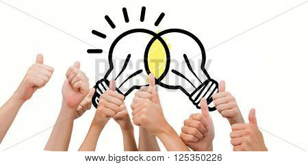 Group of hands giving thumbs up against linking light bulbs