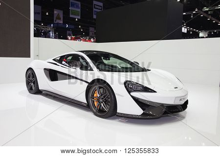 BANGKOK - MARCH 22: McLaren 570s car on display at The 37 th Thailand Bangkok International Motor Show on March 22 2016 in Bangkok Thailand.