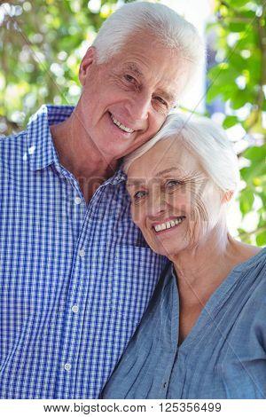 Portrait of satisfied senior couple with arm around