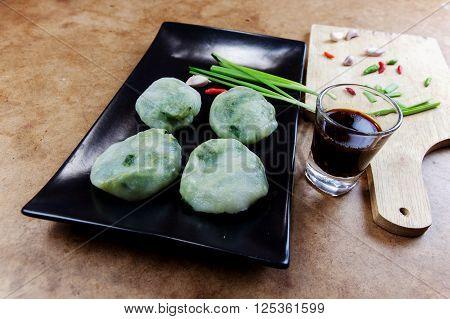Allium tuberosum. Garlic chives with soy source. Dim sum is chinese cuisine. Dimsum.