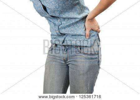 woman holding hands to his aching back