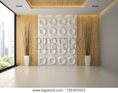 Interior of empty room with wall panel and branches 3D rendering