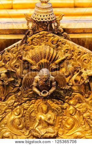 Golden statue  in Kathmandu, Nepal