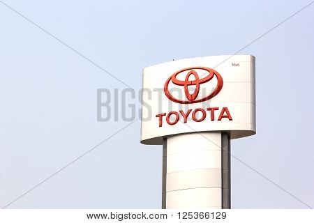 NAKORN RATCHASIMATHAILAND - March 28 2016 : An emblem of Toyota dealer shot in front of Toyota dealer Thailand Maech 28 2016 Korat Thailand. Toyota Motor Corporation is headquartered in ToyotaJapan.