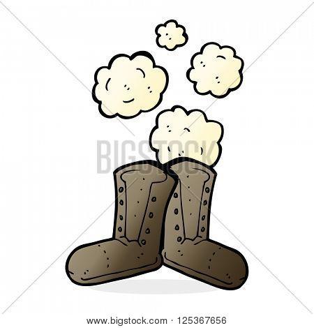 dusty old work boots cartoon