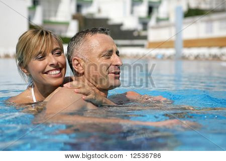 Portrait of a smiling couple in a swimming pool
