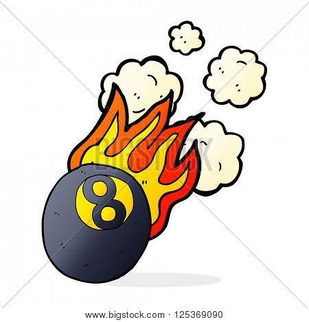 cartoon flaming pool ball