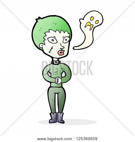 cartoon undead woman
