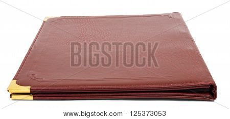 Brown leather folder isolated on white background
