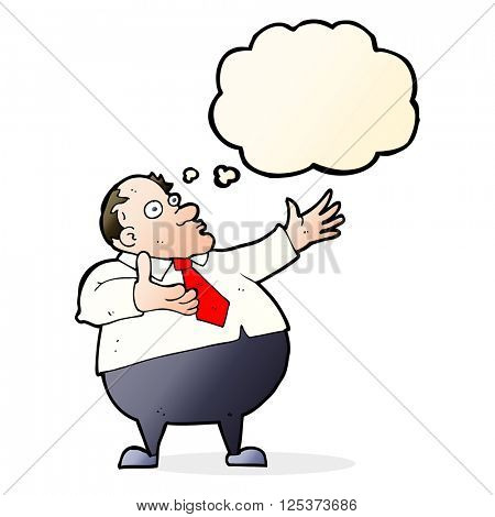 cartoon exasperated middle aged man with thought bubble