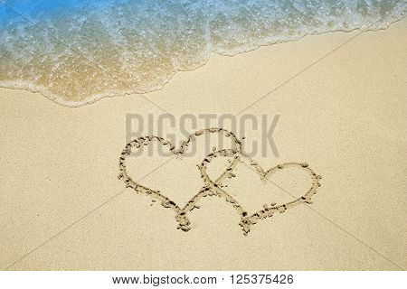 a heart on the sand by the sea