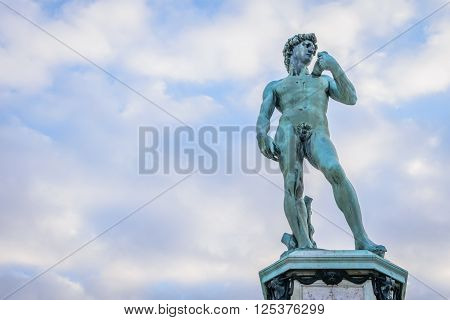 Copy of David statue at Piazzale Michelangelo with clear blue sky background