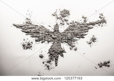 Phoenix bird drawing made in grey ash