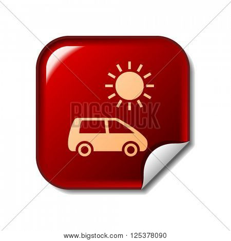 Solar energy car icon on red sticker