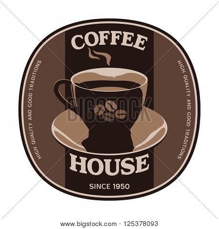 Coffee House sticker label design with cup and saucer