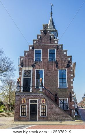 Front of the historical town hall in Balk Netherlands
