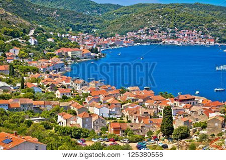 Island of Vis bay aerial view Dalmatia Croatia