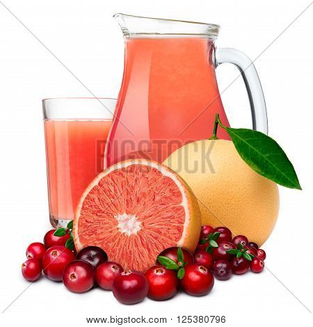 Cranberry With Grapefruit Juice In Both Pitcher And Highball