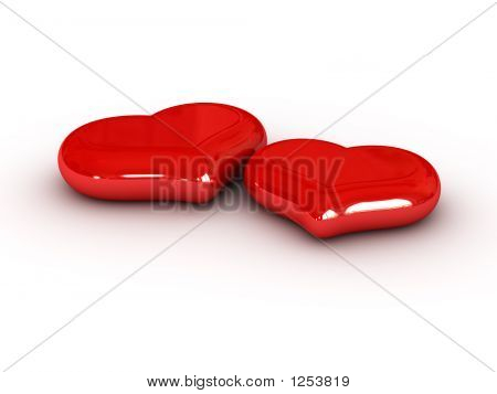 two red hearts on white background (3d for printing and web) poster