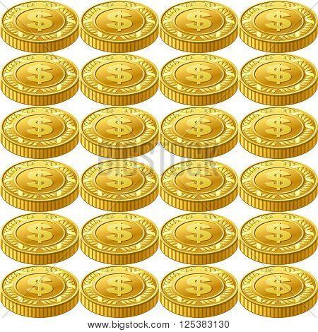 Golden dollar coins seamless pattern 10eps