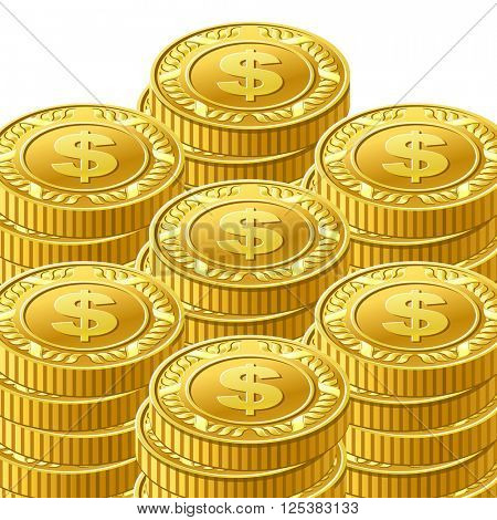 Gold coins cash money 10eps vector illustration. Isolated on white background
