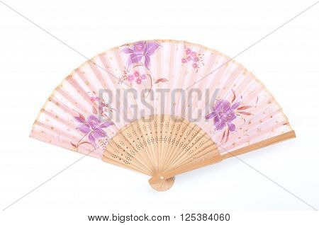 Flower painted hand fan chinese style hand fan on white background.