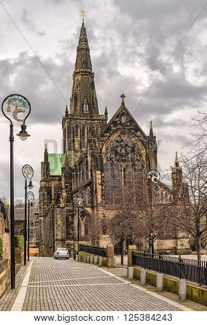 Glasgow St Mungo's Cathedral viewed from the front. Founded in the 12th century it was one of the few Scottish church buildings to survive the Reformation relatively unscathed.