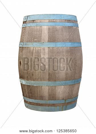 wooden barrique wine cask isolated on white background