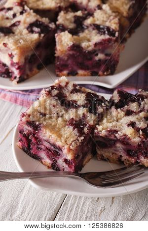 Berry Buckle Close Up On A Plate. Vertical