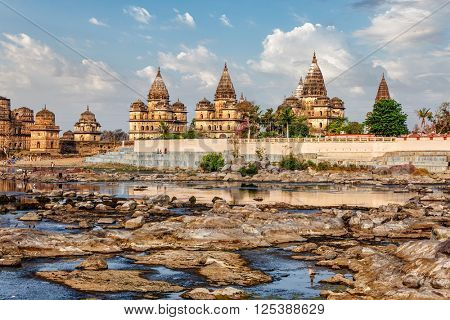 Tourist indian landmark - view of Royal cenotaphs of Orchha over Betwa river. Orchha, Madhya Pradesh, India
