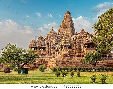 Famous indian Madhya Pradesh tourist landmark - Kandariya Mahadev Temple, Khajuraho, India. Unesco World Heritage Site