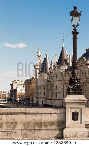 Paris, France-Aptil 10, 2016: The Conciergerie castle is a former prison in Paris located on the west of the Ile de la Cite presently mostly used for law courts.