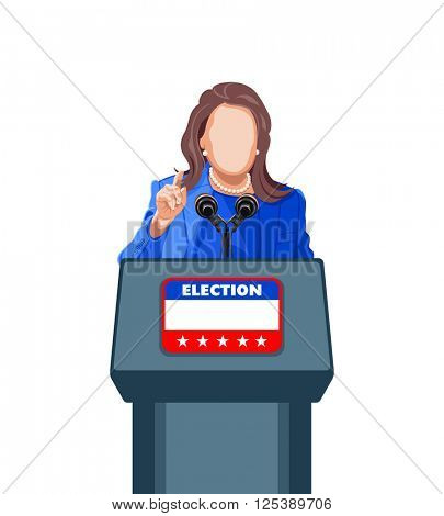 Female politician giving an election campaign speech