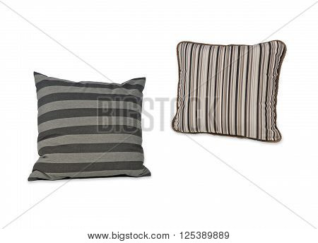 Pillows and pillows cases on white background