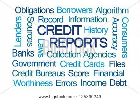 Credit Reports Word Cloud on White Background