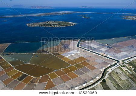 Marsala, windmill, Aerial, Saltwork, Trapani, Sicily, Italy