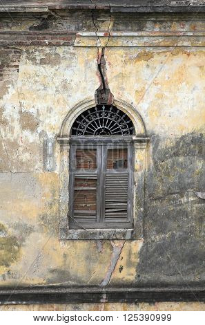 Derelict building window in the old town Joao Pessoa Pernambuco Brazil South America.
