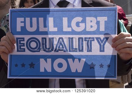 Asheville, North Carolina, USA - April 2, 2016: Close up of a sign at a HB2 protest rally of the new NC law which denies rights to those who are gay or transgender