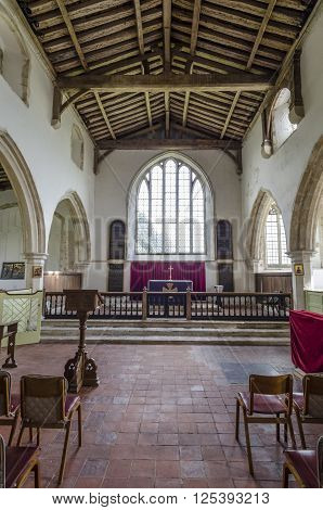 SAINT GEORGE'S CHURCH, IVYCHURCH, ROMNEY MARSH, KENT, UK, 25TH FEBRUARY 2016 - Interior view of 14th century St George's church Ivychurch Romney Marsh Kent UK