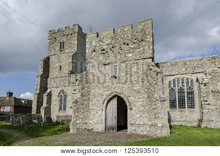 External view of 14th century St George's church Ivychurch Romney Marsh Kent UK