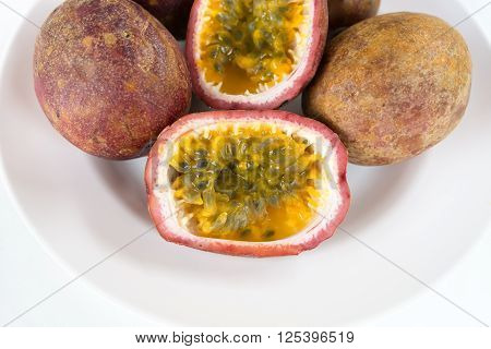 Sliced Passion Fruit On A Plate
