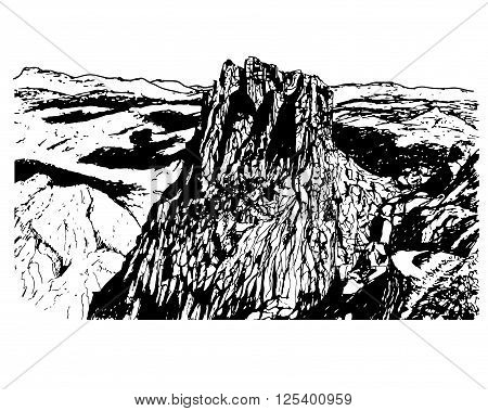 background panorama of a beautiful mountain landscape mountain natural park of Sierra de Eshtrella, sketch hand drawn ink shading graphics vector illustration